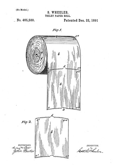 Quot Toilet Paper Roll By S Wheeler Patent Drawing Design