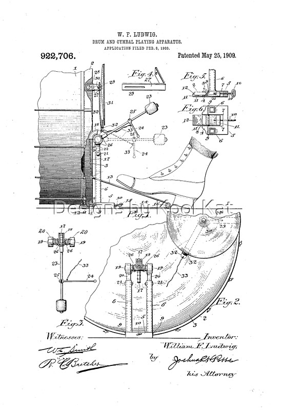 W F Ludwig Bass Drum Cymbal Playing Apparatus Pedal Patent Drawing Design By Framerkat