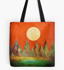 Abstract Landscape, Full Moon Mountains Orange Sky Tote Bag