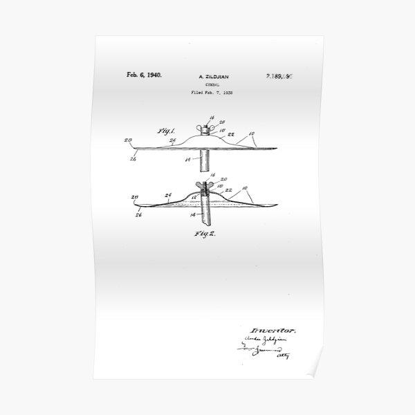 A. Zildjian Cymbal U.S. Patent Drawing Design Poster