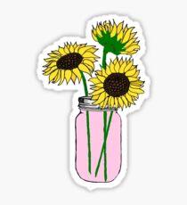 sunflowers in pink jar Sticker