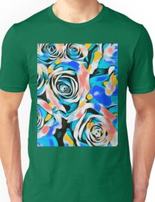 blue pink white and yellow roses Unisex T-Shirt