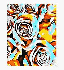 blue orange white and yellow roses Photographic Print
