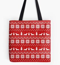 Wire Haired Dachshund Silhouettes Christmas Sweater Pattern Tote Bag
