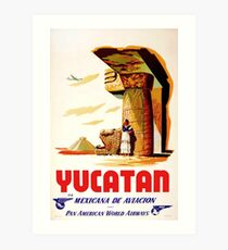 Yucatan Mexicana de Aviacion Via Pan American World Airlines Vintage Travel Poster Art Print