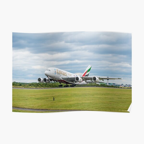 Emirates Airbus A380 Takeoff Poster