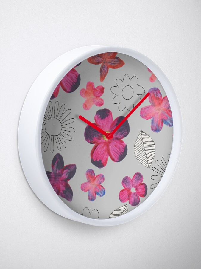 Alternate view of Watercolour Floral Pattern Clock