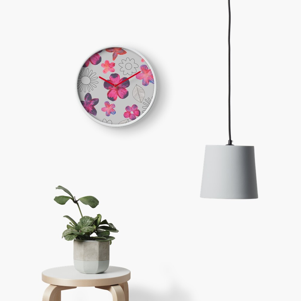 Watercolour Floral Pattern Clock