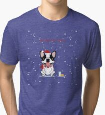 Frenchie Waiting for Santa - Brindle Pied Edition Tri-blend T-Shirt