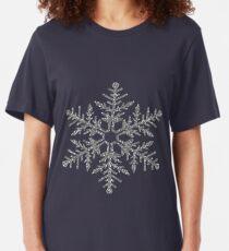 Silver Faux Glitter Snowflake Slim Fit T-Shirt