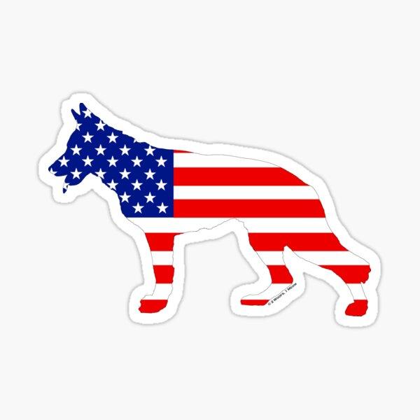 German Shepherd: American Flag Sticker