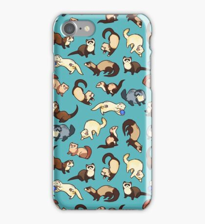 cat snakes in blue iPhone Case/Skin