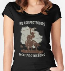 We Are Protectors, Not Protesters - Support Standing Rock Women's Fitted Scoop T-Shirt