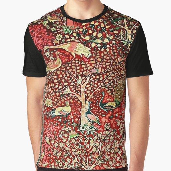 Antique Persian Rug Bird Tree Flowers ca. 1600 Print Graphic T-Shirt