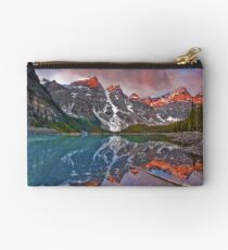 Moraine Lake Sunrise in Banff National Park, the Canadian Rockies Studio Pouch