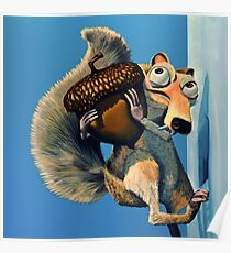 Scrat of Ice Age Painting Poster
