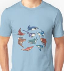 Camiseta unisex Tiburones en azul claro