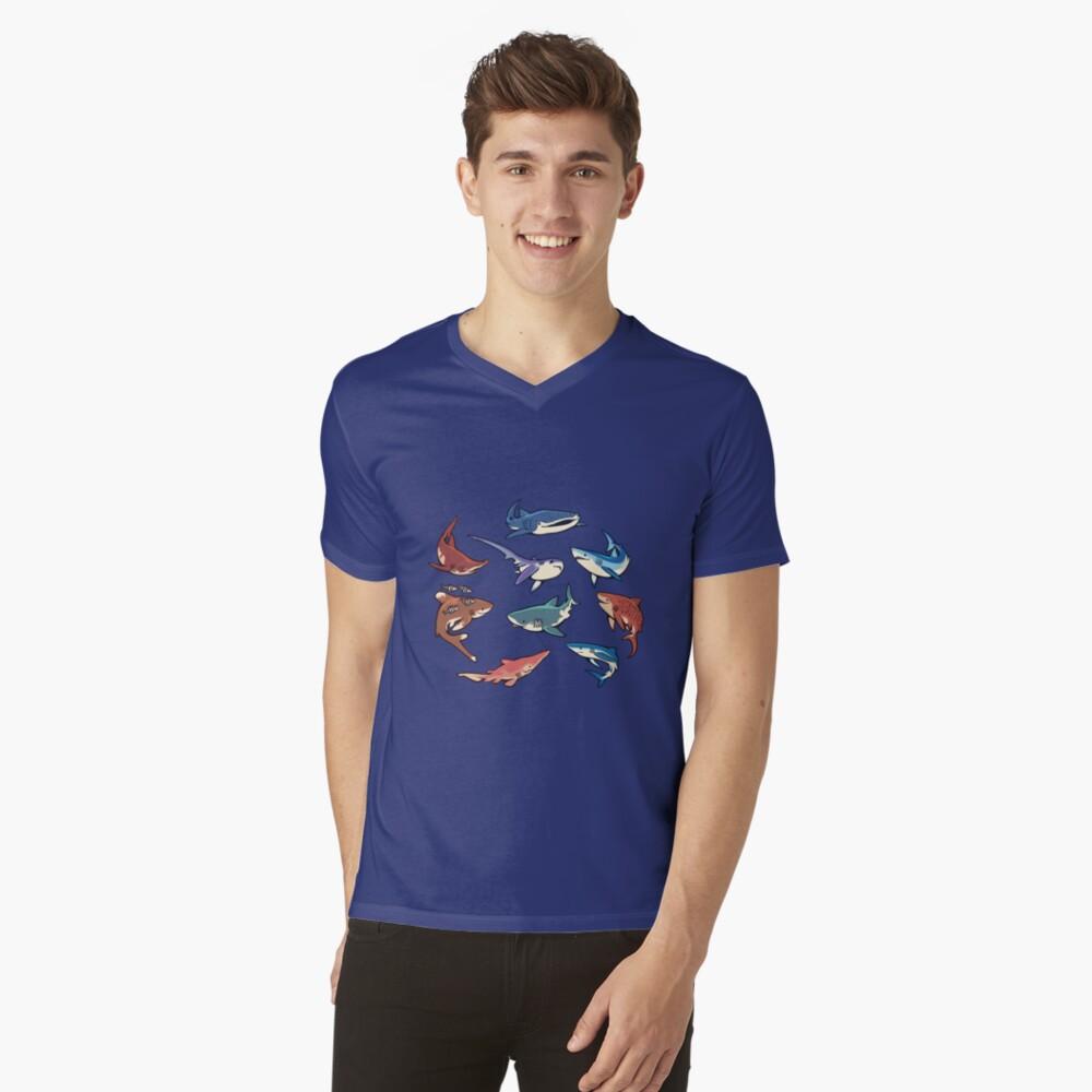 Haie im Hellblau T-Shirt mit V-Ausschnitt