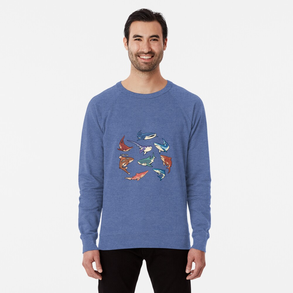 Haie im Hellblau Leichter Pullover