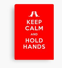 Keep Calm and Hold Hands (Otters holding hands) Canvas Print