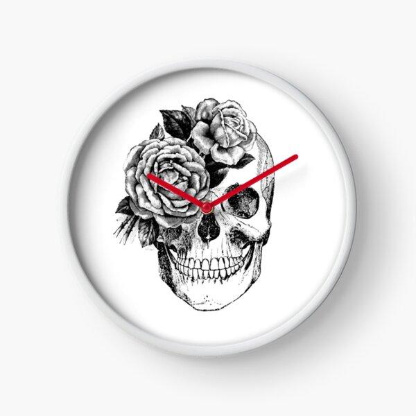 Floral Skull Anatomical Design Clock