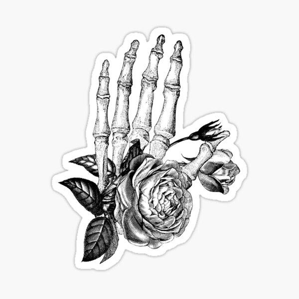 Floral Skeleton Hand Sticker