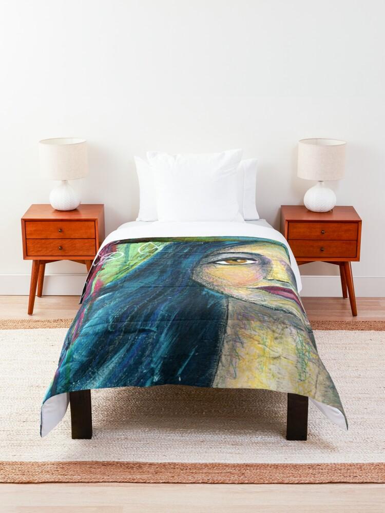 Alternate view of Brilliant Girl Mixed Media art Comforter
