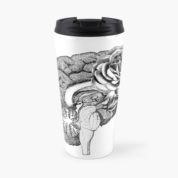 Floral Anatomical Brain Travel Mug