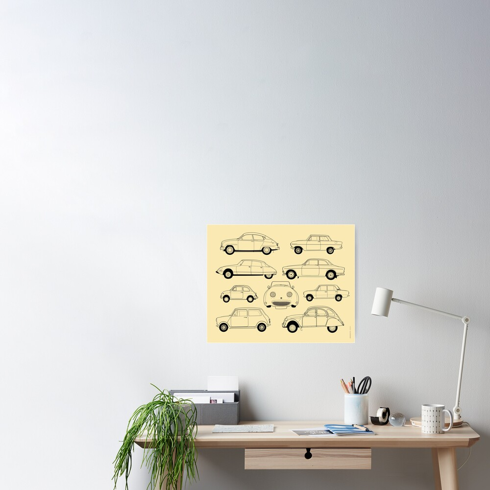 20th Century Classic Cars Poster