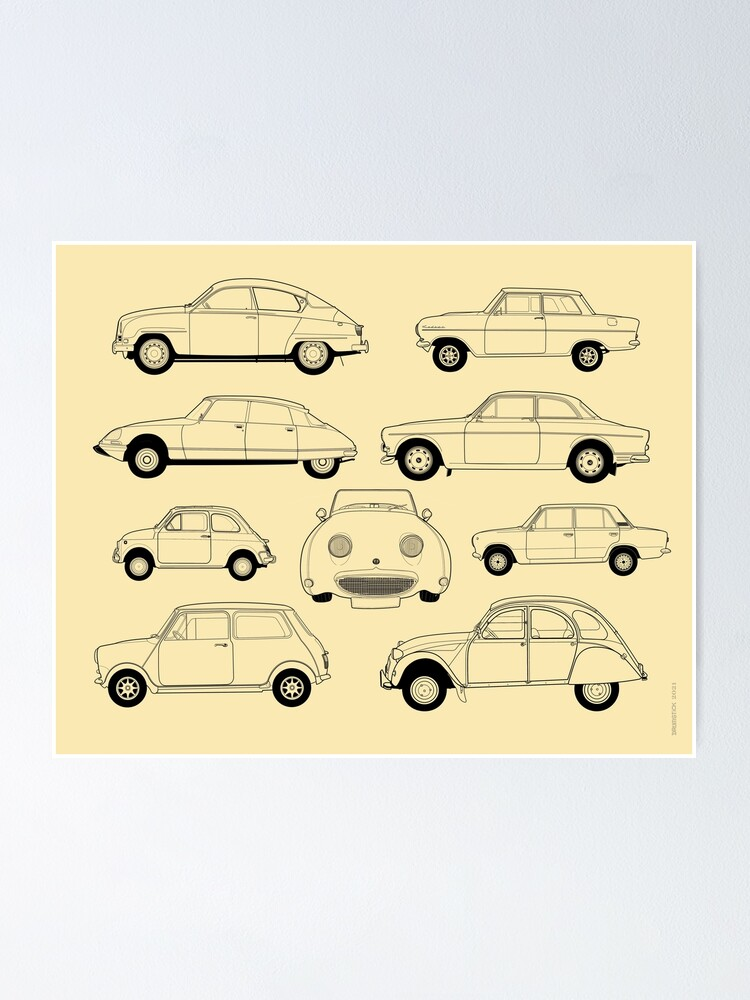 Alternate view of 20th Century Classic Cars Poster
