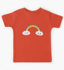 Happy rainbow and clouds Kids Tee