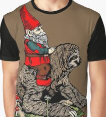 Gnome Riding a Sloth Graphic T-Shirt