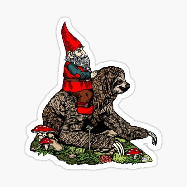 Gnome Riding a Sloth Sticker