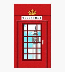 England Classic British Telephone Box Minimalist Photographic Print