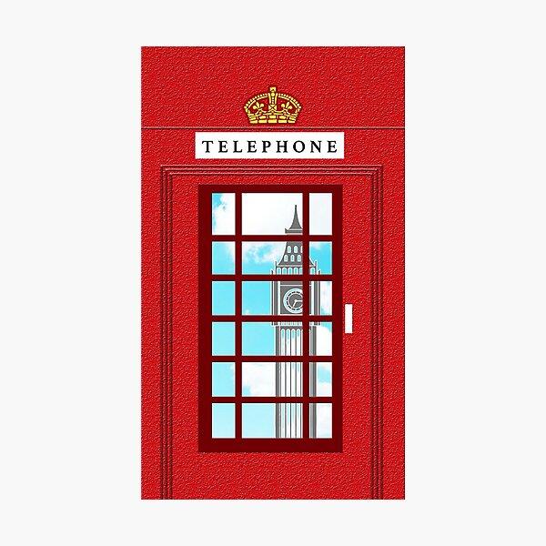 England Classic British Telephone Box Minimalist Photographic Print