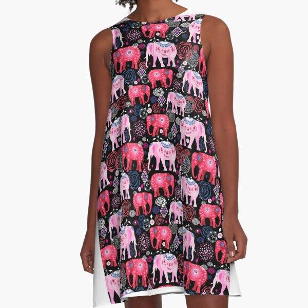 Bright pattern of beautiful elephants A-Line Dress