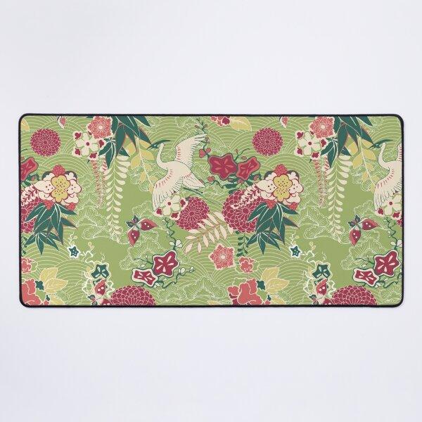 Japanese Pattern - Crane, butterfly and flowers Desk Mat