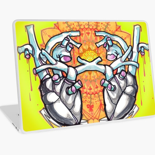 two hearts, psychedelic whovian tattoo art Laptop Skin