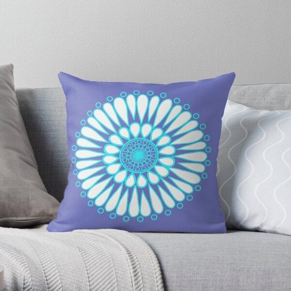 White Ice Double Sunflower Mandala Throw Pillow