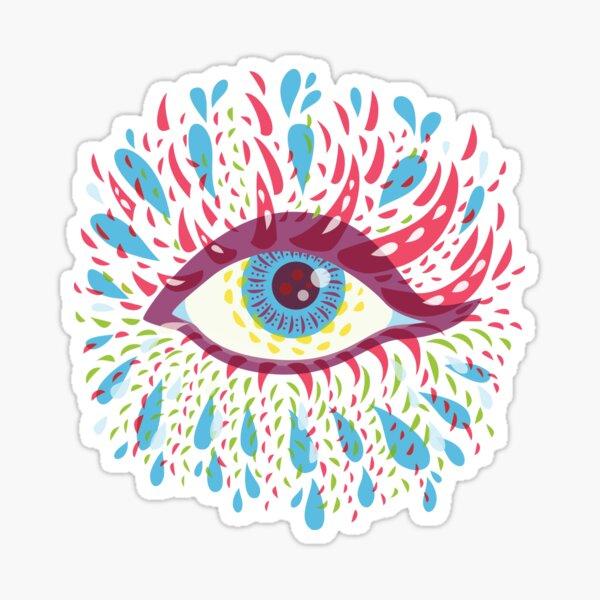 Weird Blue Psychedelic Eye Sticker