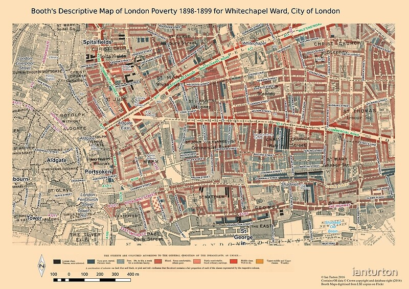 London City Map Printable.Booth S Map Of London Poverty For Whitechapel Ward City Of London Art Print