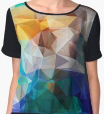 Abstract background of triangles polygon print. Bright design colors Women's Chiffon Top