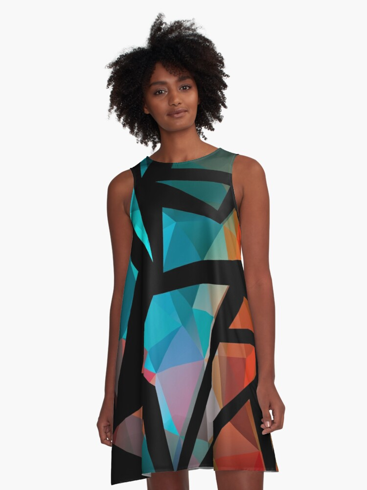 Abstract background of triangles polygon print. Bright dark design colors A-Line Dress Front