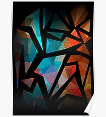 Abstract background of triangles polygon print. Bright dark design colors Poster
