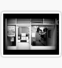 Launderette in Black and White Sticker
