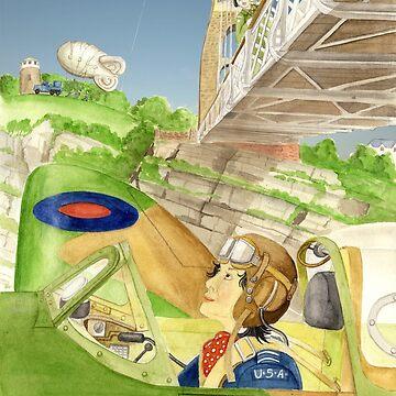 Ann Wood-Kelly flies a Spitfire under the Clifton Suspension Bridge by DruPictures
