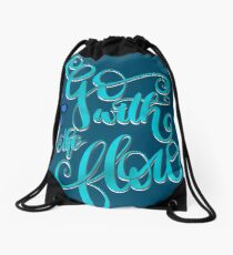 Go With The Flow Lettering Design Drawstring Bag