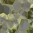 Stained Glass Polygons (Green & Gold) by Helmar Designs