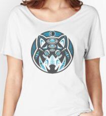 Wolf Shamanic Animal Emblem - Grey Blue Women's Relaxed Fit T-Shirt