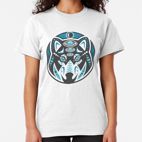 Wolf Shamanic Animal Emblem - Grey Blue Classic T-Shirt